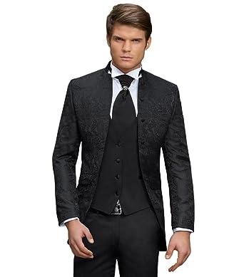 c0034cdc783c5e Herren Anzug - 8 teilig - Schwarz Paisley Designer Hochzeitsanzug TOP  ANGEBOT PC 02 (44)