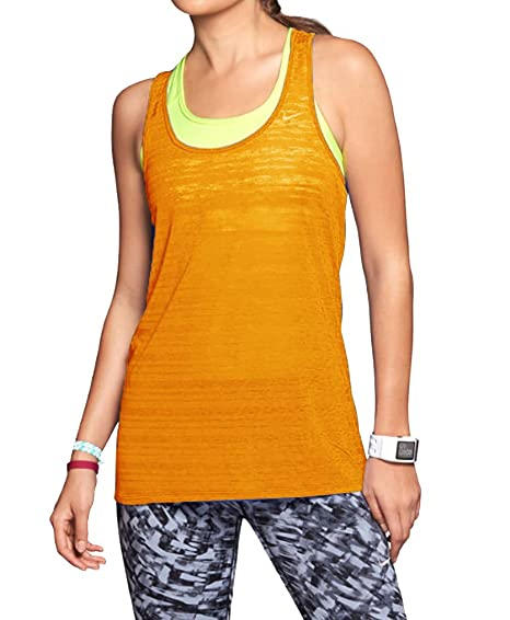 1ba5c64f67cc Nike Women s Dri-FIT Touch Breeze Racerback Tank Top (Orange Volt) (Medium