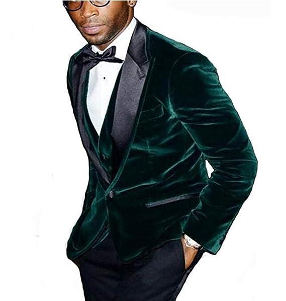 Mens Green Peak Lapel Velvet Slim Fit Suit 3 Pieces One ...