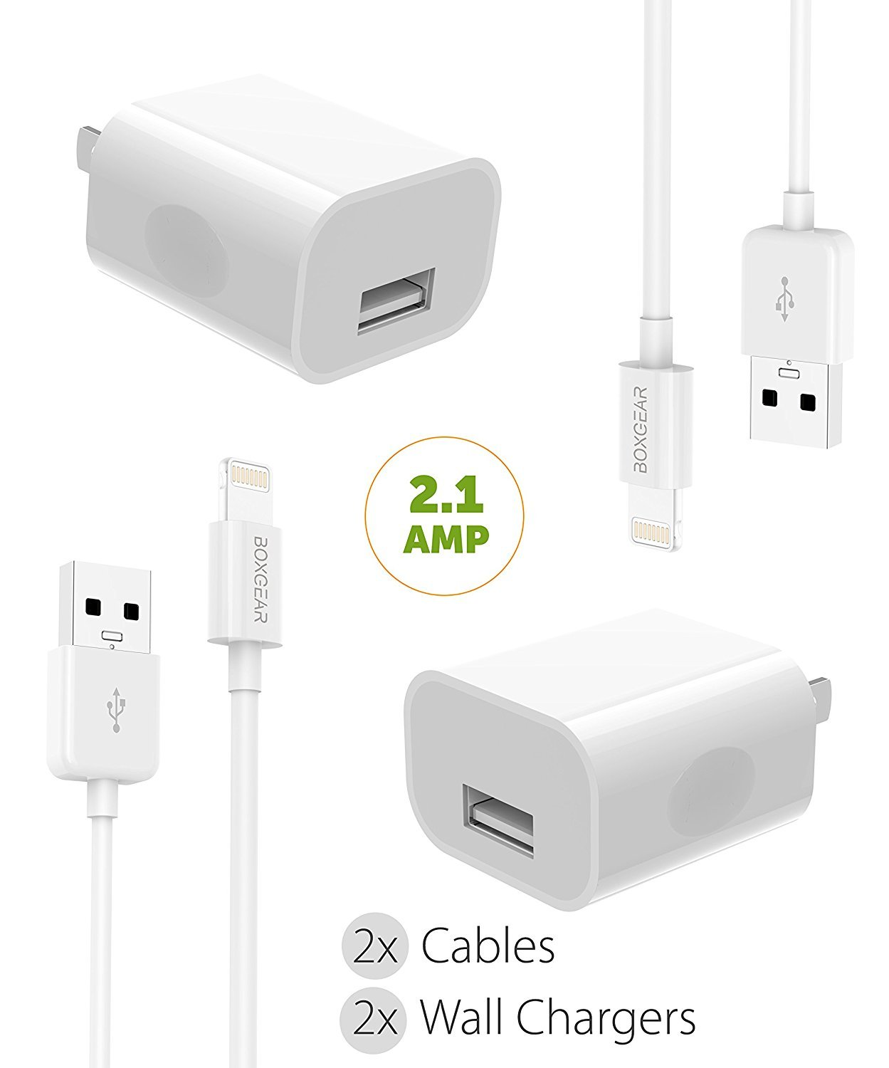 iPhone X Charger iPhone X / 8/8 Plus / 7 Plus / 7 / 6S plus / 6S / 6 / Apple Lightning Cable Kit by Boxgear - { 2 Wall Charger + 2 Cable }, Apple MFi Certified USB Cables (White)