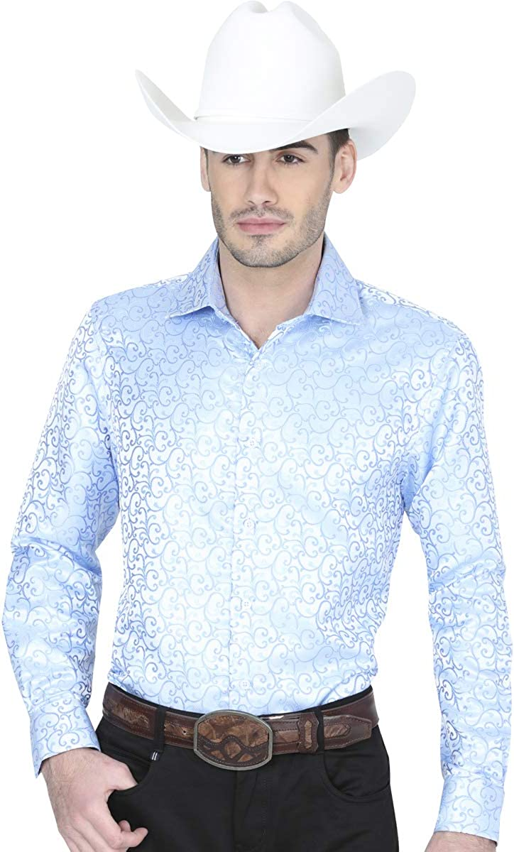Camisa Casual M//Larga Centenario 100/% Polyester Light Blue ID 41462 CW1G