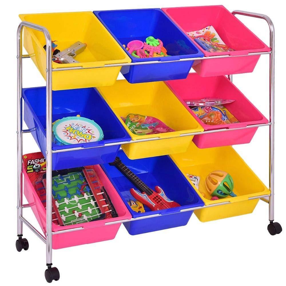 USMW Kids Toy Bin Cart Rack Toys Organizer Childrens Storage Box Playroom Bedroom Shelf Baby Rolling Trolley Cart