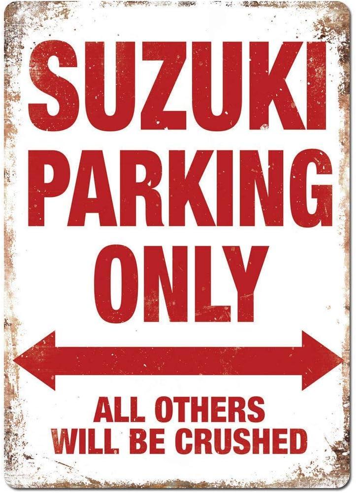 Ellis Plaque en m/étal r/étro Suzuki Parking Only pour Magasin Man Cave Bar Home D/écoration Garage