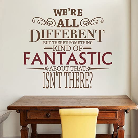 We Re All Different Fantastic Mr Fox Wall Decal Quote Vinyl Word Art Large Fantastic Dark Red Letters Brown Amazon Ca Home Kitchen