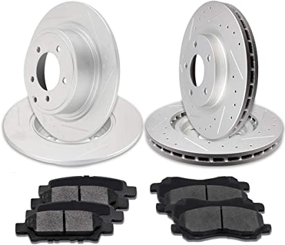 Fit Chrysler 200 Front Rear Black Drill Slot Brake Rotors+Ceramic Brake Pads