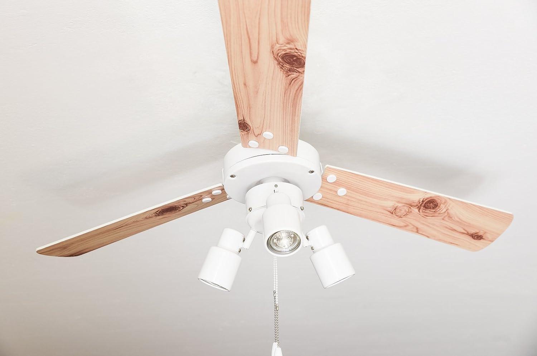 AireRyder Ventilador de techo con iluminación y interruptor de cordón Cyrus blanco 107cm GU10, 55 W, 107 x 107 x 39 cm