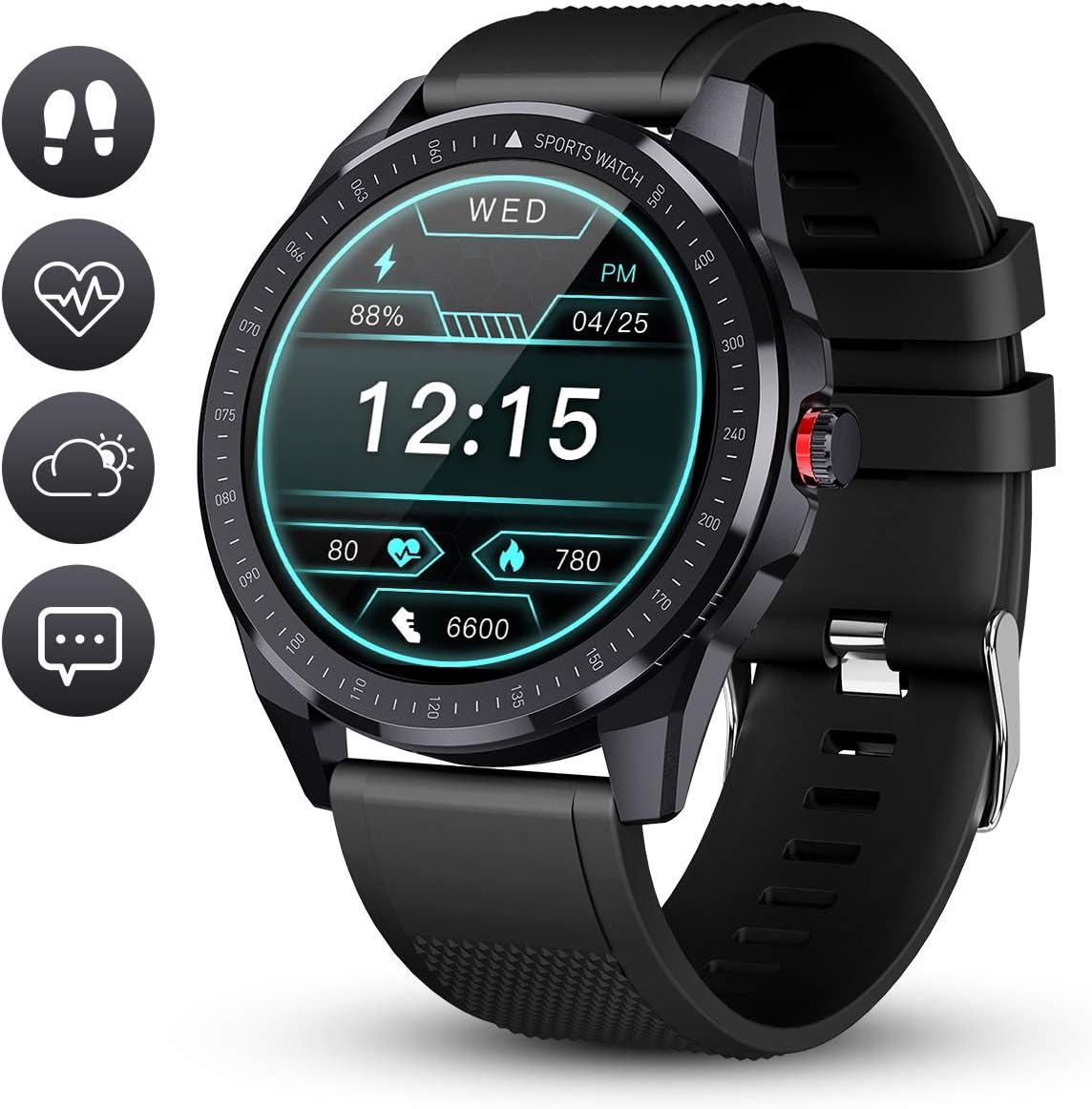 GOKOO Reloj Inteligente Hombre Smartwatch Deportivo Rastreador Actividad Reloj Inteligente Pantalla Táctil Completa Entrenamiento Respiratorio IP68 Impermeable Compatible con Android iOS (Negro)