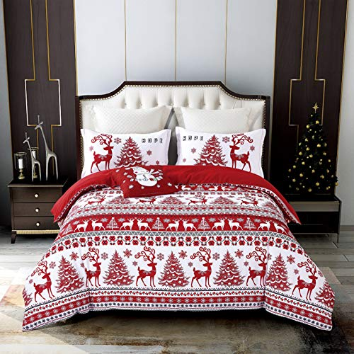 Qucover Christmas Duvet Cover Set, Lodge Elk Reversible Jacquard Bedding Duvet Cover Sets with Decorative Throw Pillow Cover 4 Piece Red for Queen/Double Bed (Cover Quilt Double Christmas)