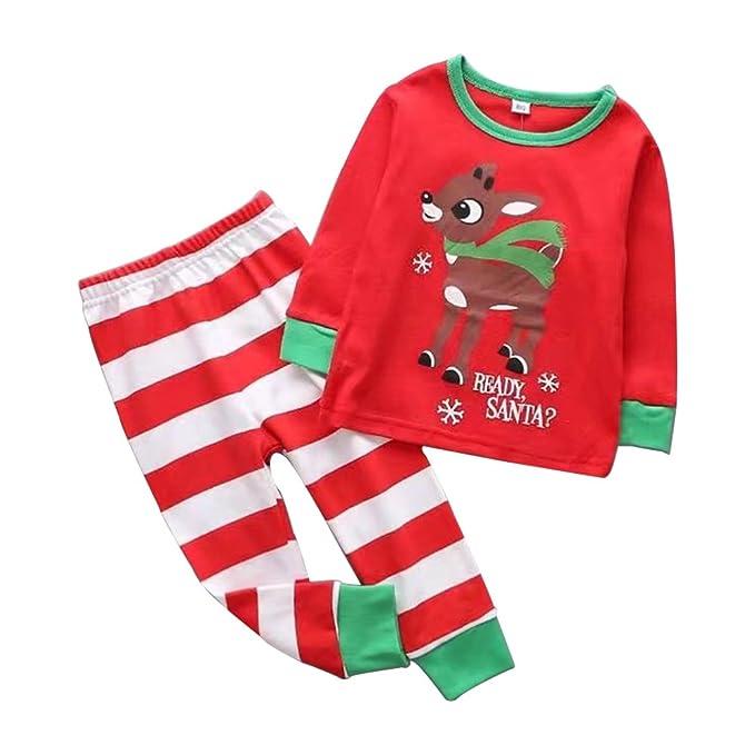 KINDOYO Navidad Niños Chico Chica Dibujos animados Pijamas Top Manga Larga Pantalones