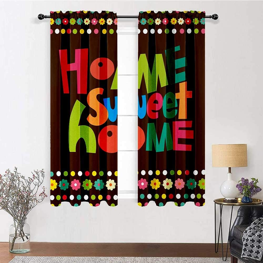 Curtain Panels Home Sweet Home Full Light Blocking Drapery Panels Retro Cartoon Style Funky Colorful Letters and Floral Borders with Dots Classic Window Décor 2 Rod Pocket Panels, 52