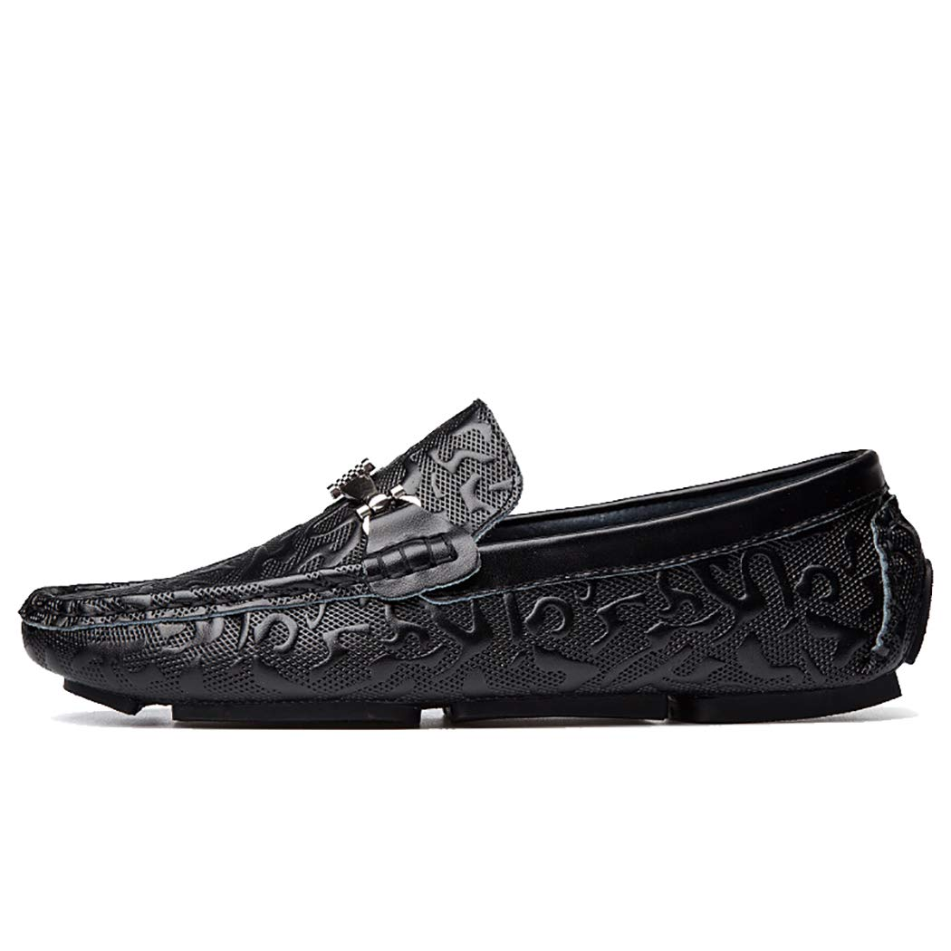 Mens Moccasin Shoes Embossing Soft Leather Slip-On Casual Loafers On Foot Flat Boat Shoes Driving Shoes Summer Male