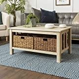 oak accent tables WE Furniture Rustic Wood Rectangle Coffee Accent Table Storage Baskets Living Room, 40 Inch, White Oak