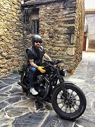 Black Tab Motorrad Lederweste - Schwarz SOA Sons of Anarchy Style USA Büffelleder, S - 91cm