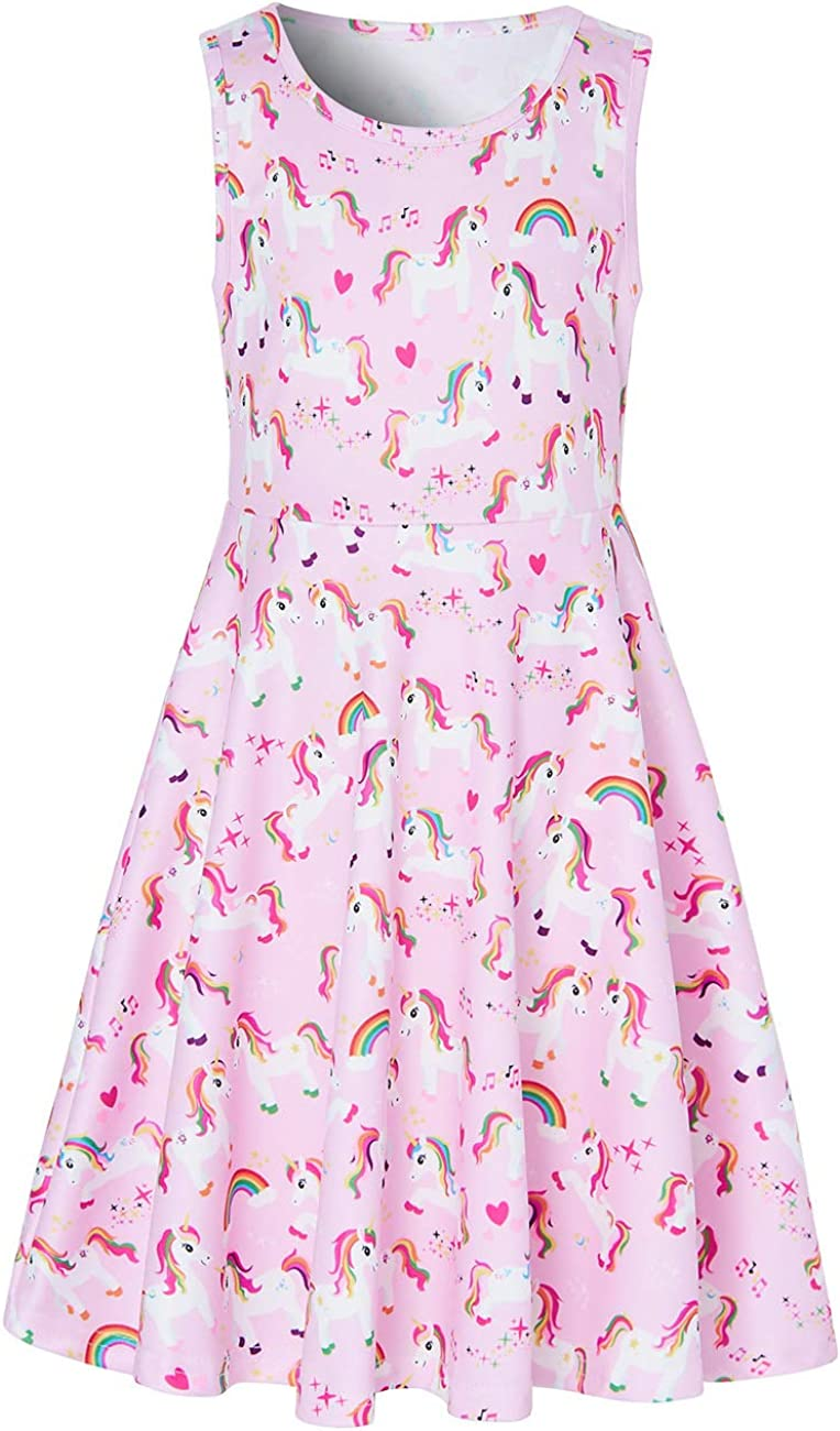Ahegao Girls Floral Sleeveless Dresses Kids One Piece Sundress for Casual School 4-13 Years Old