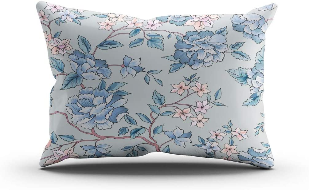 Houlor Throw Pillow Cover 20 X 26 Inches Floral Pattern Flower Seamless Background Flourish Standard Cushion Pillowcase One Side Print for Living Room Bedroom Dorm