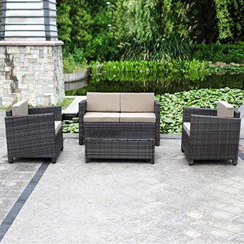 Solaste Outdoor Patio Furniture Set 4 Piece Conversation Set All-Weather Grey Wicker Sofa with Beige Cushions