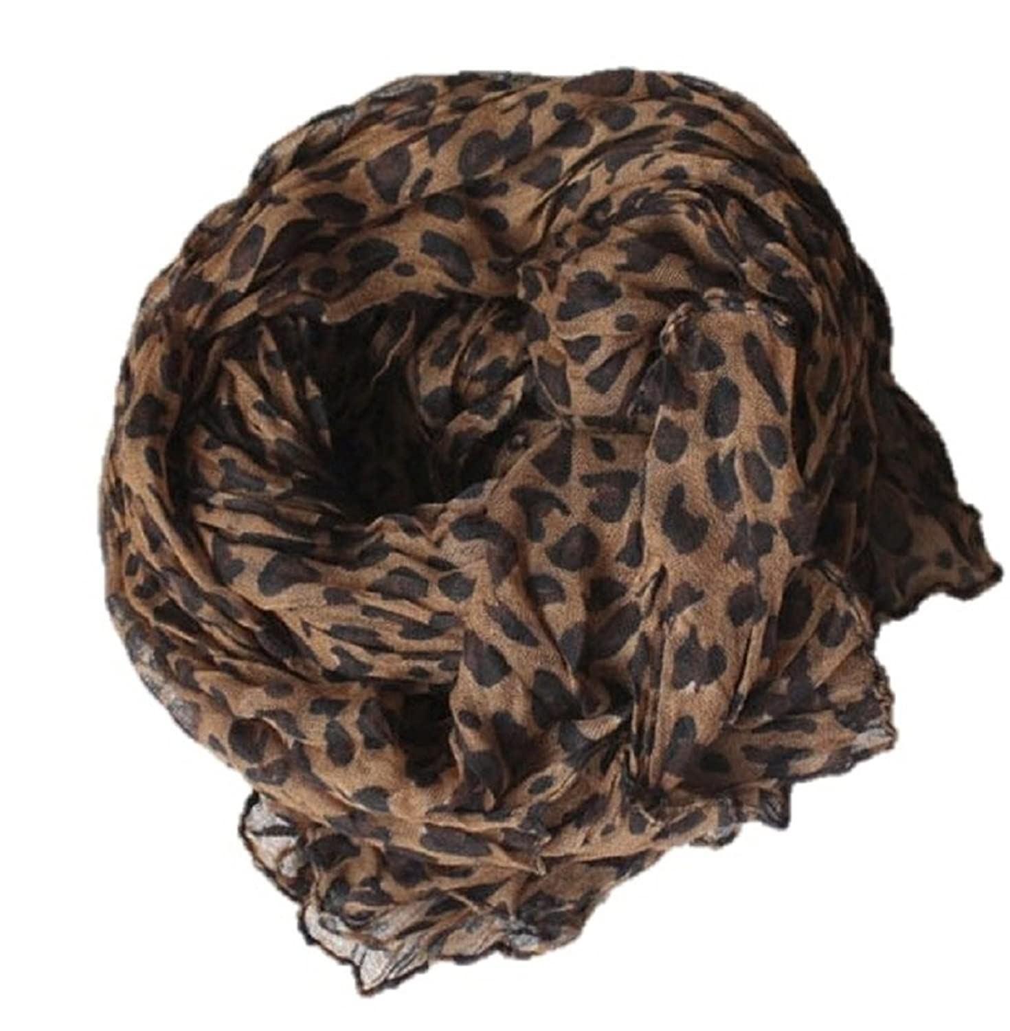 Coffee Leopard Print Lightweight Voile Image 1