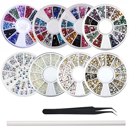 Acrylic Charms Star (WOKOTO 8Pcs/Set Nail Rhinestones And Charms Kit With Different Shapes Colorful Ab Rhinestones For Nails Studs Diamond Wheel And Tweezers Rhinestone Picker Pencil)