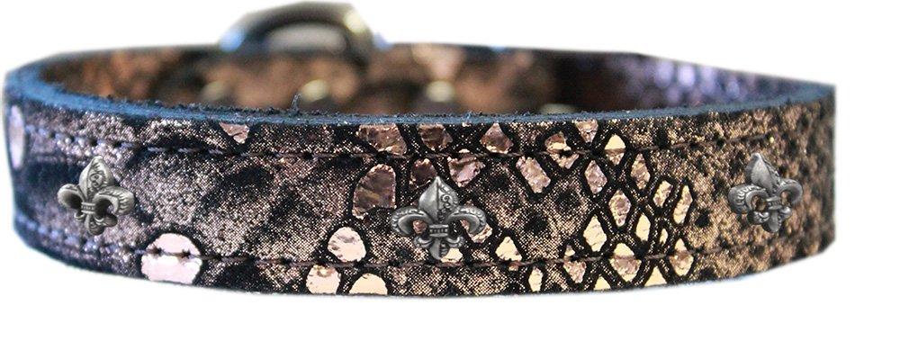 Mirage Pet Products 83-97 CP10 Fleur De Lis Widget Dragon Skin Genuine Leather Dog Collar, Size 10, Copper