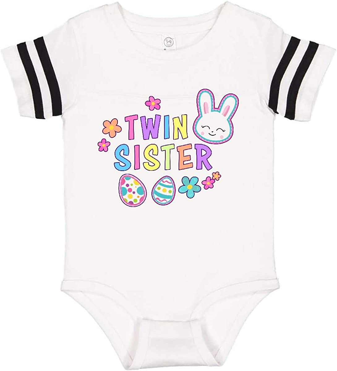 inktastic Twin Sister with Bunny Face and Easter Eggs Infant Creeper