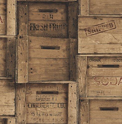 Fine Decor Distinctive Wood Crates Wallpaper Brown (Distinctive Wood)