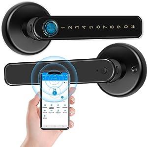 GEKRONE Fingerprint Lock with Touchscreen Smart Room Door Lock TTLOCK App Digital Lever Lock Keyless Entry Front Door knob with Keypad Suitable for Home&Hotel&Office&Indoor Door(T190)