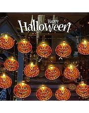Floepx Halloween lichtsnoer, 3 m, 20 led-pompoen lichtsnoer, 3D pompoenverlichting, Halloween pompoen decoratieve lichtketting, voor Halloween en tuinen