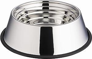 Indipets Stainless Steel Capacity Measurement Dog Bowl - Volume Marking, No-Tip, Anti-Skid Dish