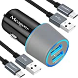 Meagoes Rapid Car Charger, Compatible Samsung Note 9/8, Galaxy S10 Plus/S10/S10e/S9 Plus/S9/S8+, LG V40 ThinQ/G8/G7/V30 Phone, Quick Charge 3.0 Port, Fast Charging USB Car Adapter with 2 Type C Cables