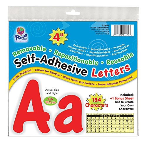 "Pacon 4"" Self-Adhesive Uppercase and Lowercase Letters, 154-Count, Red (51694)"
