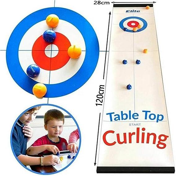BYBYC Juego de Mesa Curling, portátiles de Juegos Familiares para Niños, Compact Mini Tablero Curling Juego Mini para Juegos Entre Padres e Hijos/Familia/Viajes,Blanco: Amazon.es: Deportes y aire libre