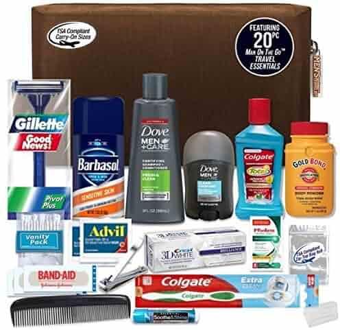 Convenience Kits Men's Premium 20-Piece Necessities Travel Kit, Featuring: Dove Men & Care Products