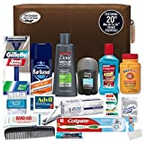 CONVENIENCE KITS Men's Premium Necessities Travel Kit, TSA Approved, Essential Travel Size Toiletries, Travel Kit for Men, Travel Toiletry, Gifts for Men, Father's Day Gift, 20-Piece Travel Kit