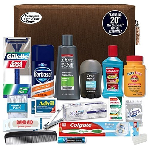 Convenience Kits Mens Premium 20-Piece Necessities Travel Kit, Featuring: Dove Men & Care Products