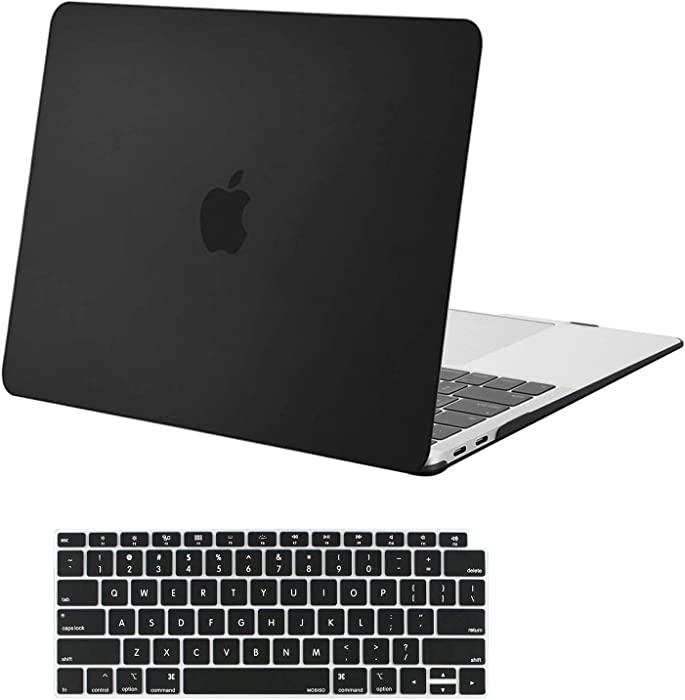MOSISO MacBook Air 13 inch Case 2020 2019 2018 Release A2179 A1932 with Retina Display, Plastic Hard Shell Case & Keyboard Cover Only Compatible with MacBook Air 13 with Touch ID, Black