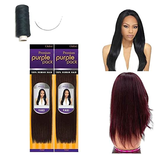 Amazon outre premium purple pack 100 human hair yaki amazon outre premium purple pack 100 human hair yaki extension weave w needle and thread 12 4 packs 1b beauty pmusecretfo Images