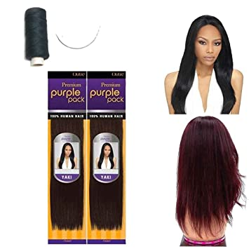 169beee4f0ade7 Outre Premium Purple Pack 100% Human Hair Yaki Extension Weave w  Needle  and Thread
