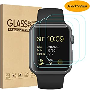 Tourist [3 Pack] Compatible for Apple Watch Tempered Glass Screen Protector 42mm Series 3/2 / 1, 9H Hardness, Anti-Fingerprint, Anti-Bubble Easy Installation [Only Covers The Flat Area (3 Pack)