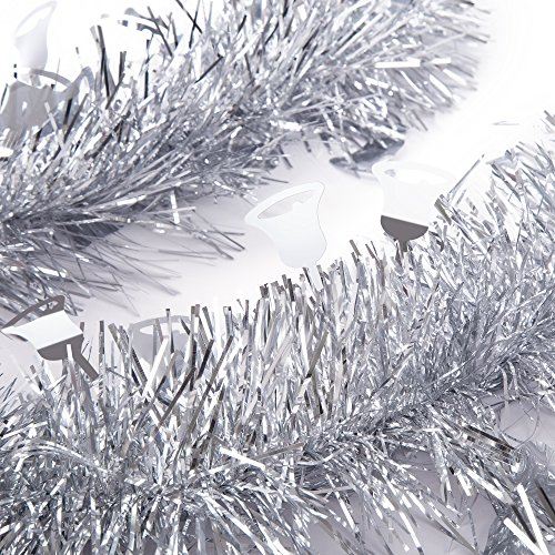 Colorful Christmas Trees - SANNO Christmas Tinsel Garland Jingle Bell Sparkly Classic Party Ornaments Hanging Xmas Christmas Tree Ceiling Decorations, 3 Pcs 8.2 Ft (2.5M) x 4 inch wide, Silver