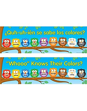 Really Good Stuff Whooo Knows Their Colors? Two-Sided Banner - English-Spanish