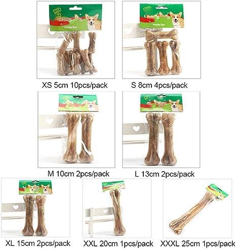WOOAI Mascota Perro Juguete Suministros Mastica Juguetes Cuero Piel de Vaca Hueso Molar Dientes Limpio Palo Comida Trata Perros Huesos para Accesorios para Cachorros, Tamaño, M: Amazon.es: Productos para mascotas