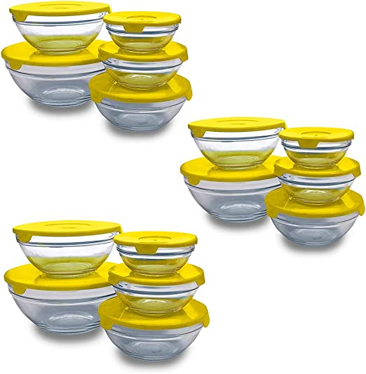 PARAISO Set de 15 Boles de Cristal con 15 Tapas Color Amarillo ...
