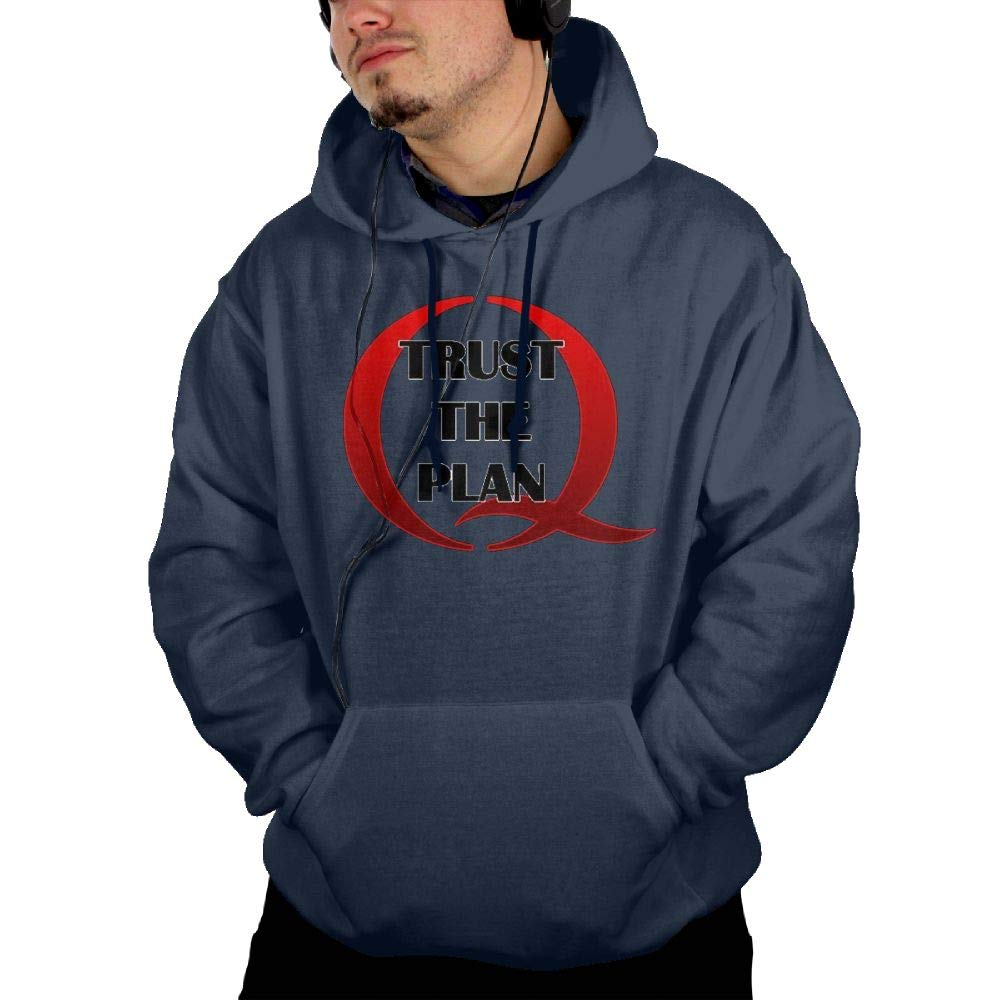 Vito H Jackson Mens Hooded Pocket Sweatshirt Sweater QANON Trust The Plan Personalized Fashion Customization Navy