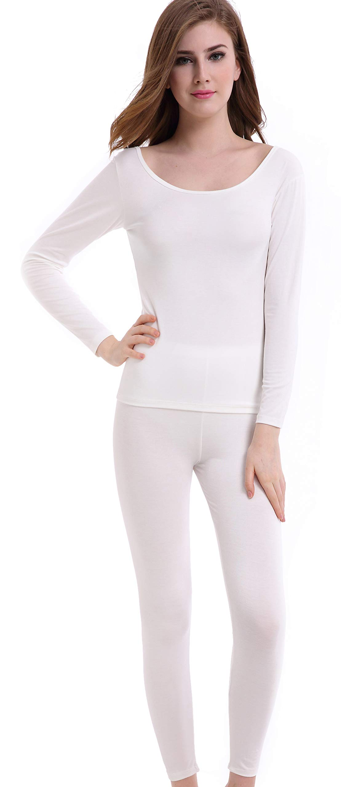 Thermal Underwear Women Long - Scoop Neck Ultra - Thin Johns Set Top & Bottom Ivory Off White by CnlanRow