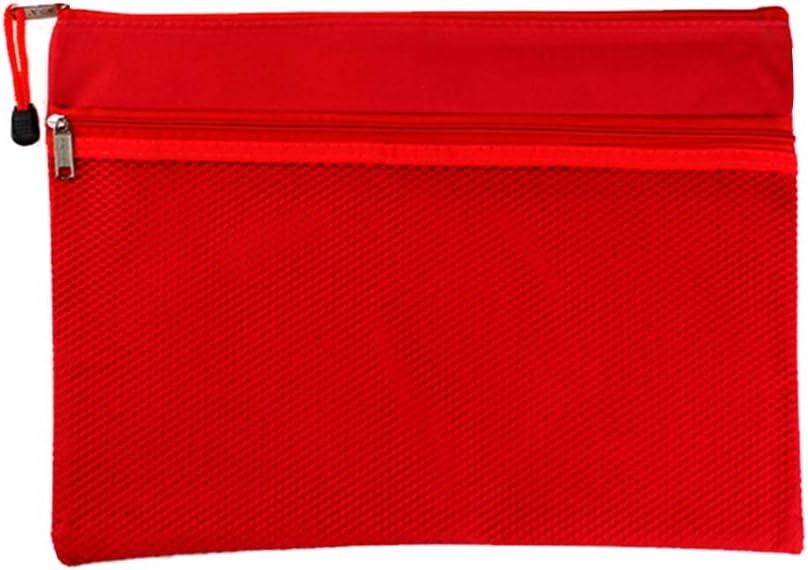 Sourcingmap Lot de 5 pochettes en toile avec fermeture /Éclair double couche Rouge