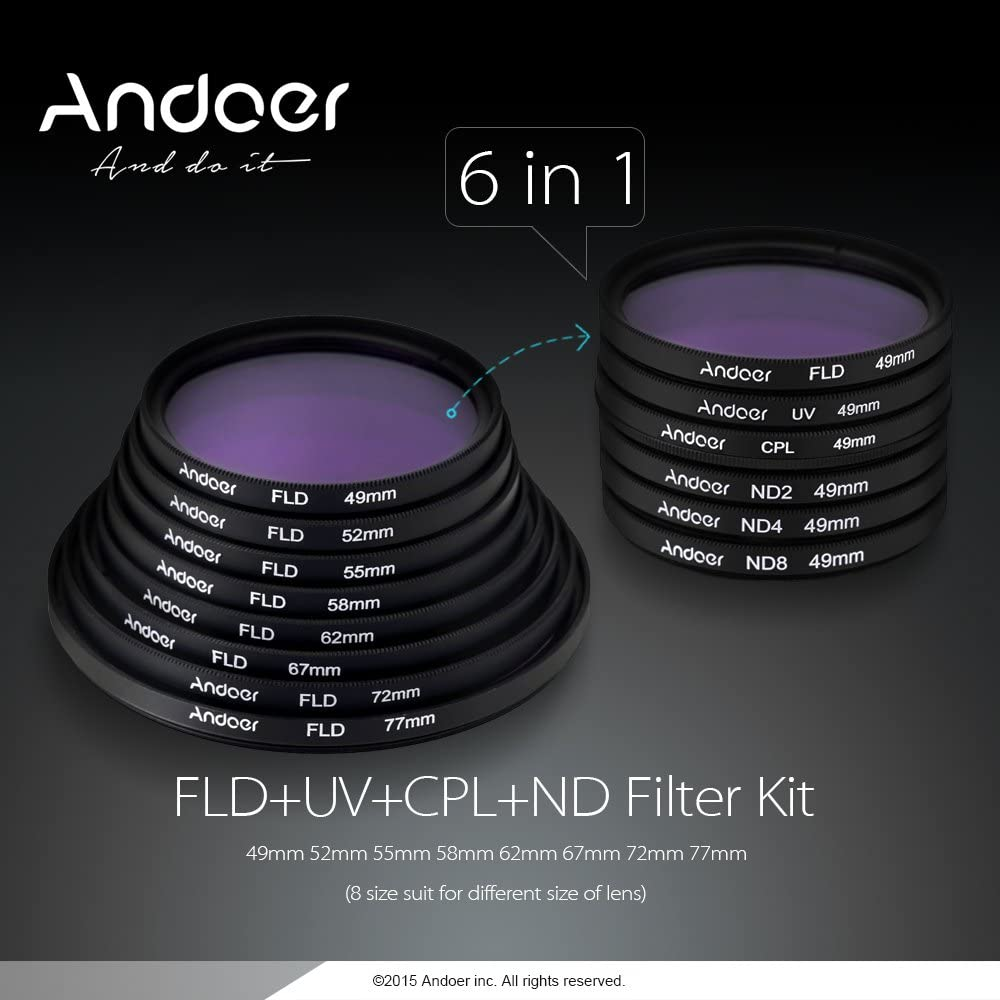 Andoer 62mm UV FLD CPL ND2 ND4 ND8 ND Photography Filter Kit Set Ultraviolet Circular-Polarizing Fluorescent Neutral Density Filter for Nikon Canon Sony Pentax DSLRs