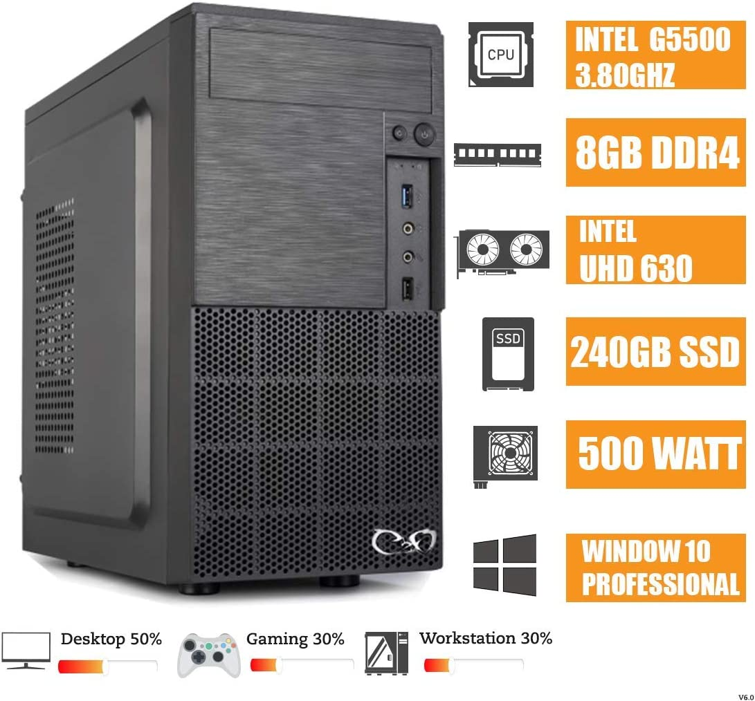 CEO Alpha V8 - Ordenador de Sombremesa Intel G5400 3.70GHz 4MB Cache | 8GB RAM DDR4 | 240GB SSD | Intel UHD Graphics 610 | HDMI/VGA | USB 3.0 | Windows 10 Pro: Amazon.es: Informática
