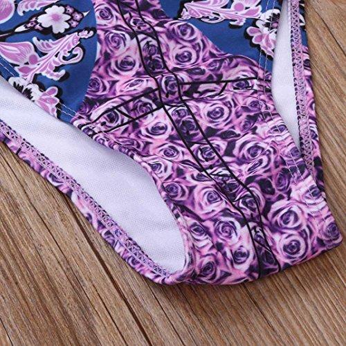 Ouneed Las mujeres de Bohemia vendaje floral bikini conjunto push-up Bra traje de baño Multicolor