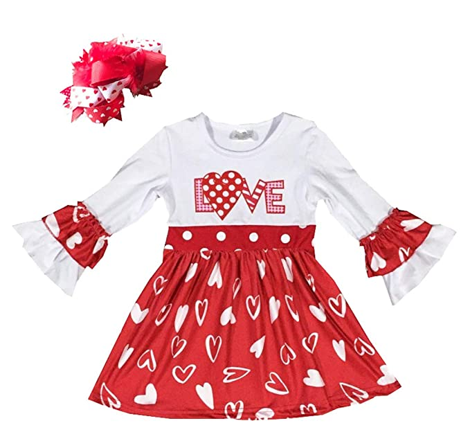 Amazon Com Ekoobee Infant Baby Girls Valentines Day Outfits Ruffle