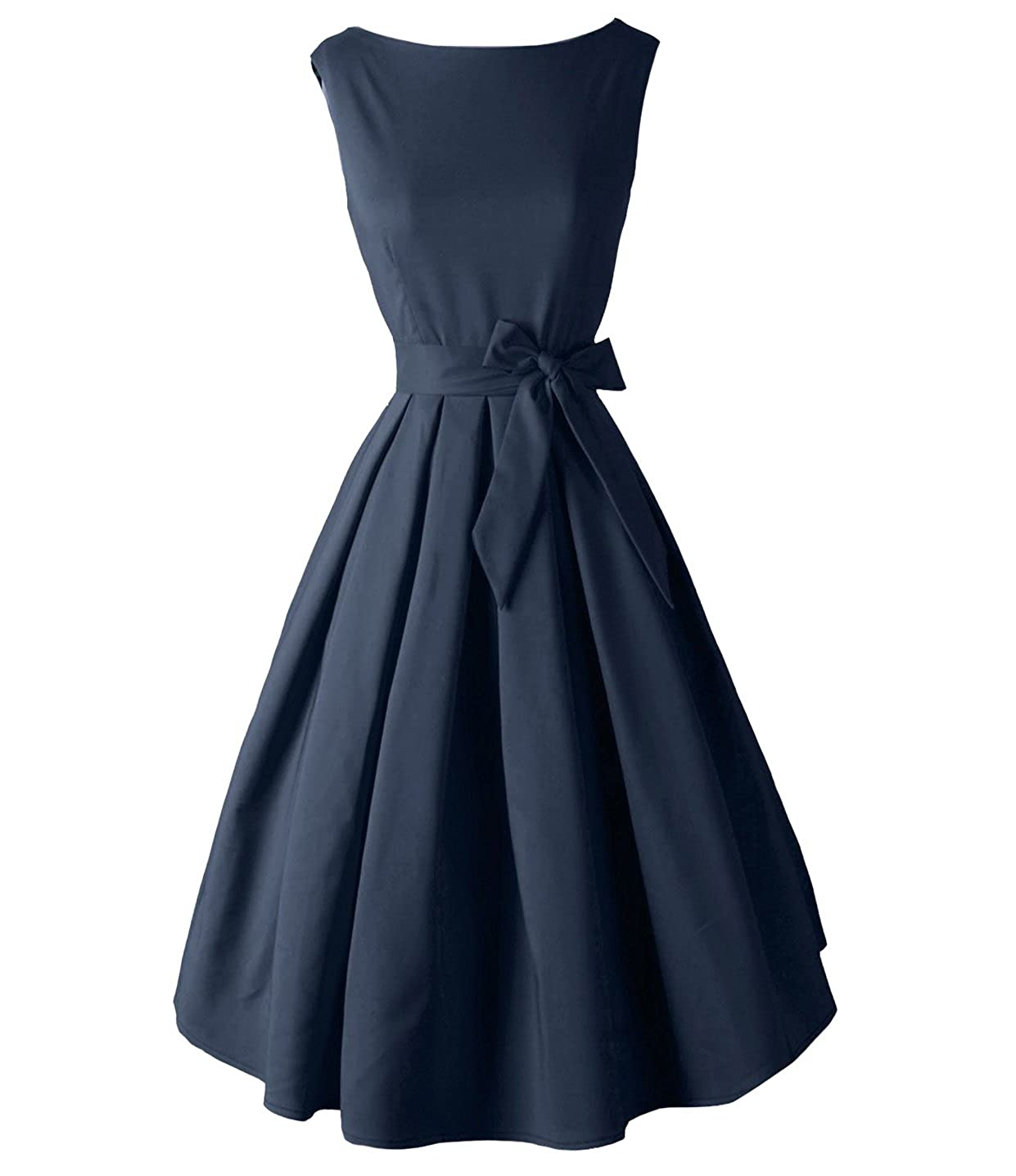 Dark bluee Tecrio Vintage Audrey Hepburn 1950's Boat Neck Solid Cocktail Party Swing Dress